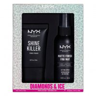 NYX Professional Makeup - DIAMONDS & ICE PLEASE! PRIME & SET DUO - Zestaw prezentowy kosmetyków do makijażu twarzy - Baza 20 ml + Spray utrwalający 60ml