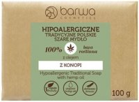 BARWA - HYPOALLERGENIC TRADITIONAL SOAP WITH HEMP OIL - Hipoalergiczne szare mydło z olejem z konopi - 100 g