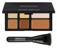 FREEDOM - PRO STROBE CREAM - PRO CREAM STROBE AND CONTOUR PALETTE WITH BRUSH - Zestaw do konturowania twarzy + pędzel