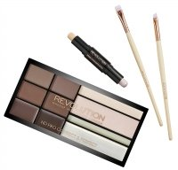 MAKEUP REVOLUTION - HD PRO BROWS - FLAT BROW BRUSH, ANGLED BROW BRUSH - Paleta do makijażu brwi i zestaw 2 pędzli