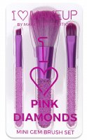 I ♡ Makeup - I ♡ Pink Diamonds - MINI GEM BRUSH SET - Zestaw 3 pędzli do makijażu