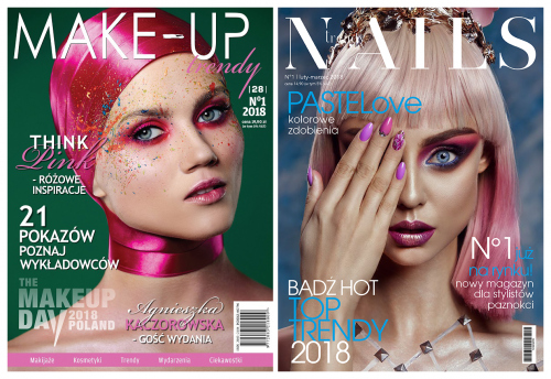 Magazyn Make-Up Trendy - Think Pink - RÓŻOWE INSPIRACJE - No 1/2018 + MAGAZYN NAILS TRENDY No 1/2018
