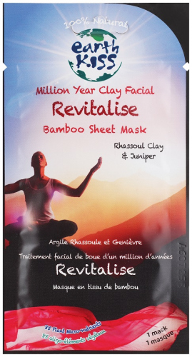 Earth Kiss - Million Year Clay Facial Revitalise Bamboo Sheet Mask - Rewitalizująca, materiałowa maseczka bambusowa
