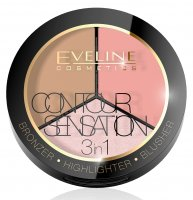EVELINE - CONTOUR SENSATION 3in1 - Paleta do modelowania konturu twarzy
