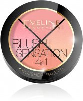 EVELINE - BLUSH SENSATION 4IN1 - BLUSHER PALETTE - Paleta 4 róży do twarzy