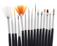 Inter-Vion - Set Of Brushes for Nail Art - Zestaw 15 pędzelków do zdobienia paznokci